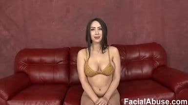 FACIAL ABUSE - PUSHING IT IN BALLS DEEP IN THIS SLUTS THROAT